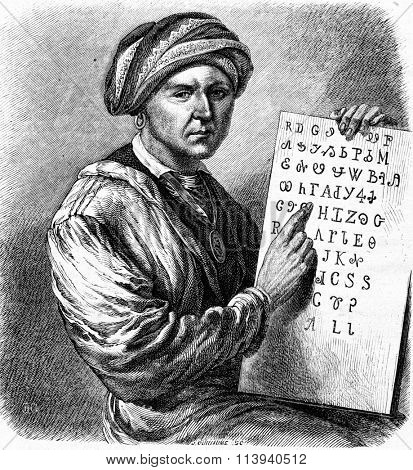 Sequoyah, vintage engraved illustration. Magasin Pittoresque 1873.