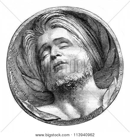 Medallion Mickiewicz Preault by the cemetery of Montmorency, vintage engraved illustration. Magasin Pittoresque 1870.