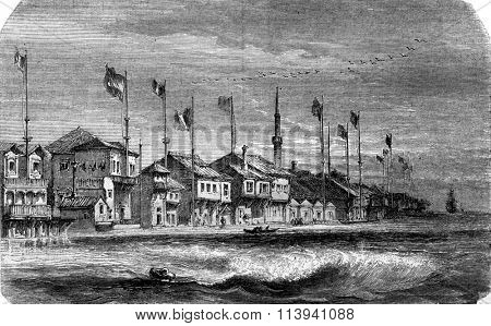 The Dardanelles, vintage engraved illustration. Magasin Pittoresque 1870.