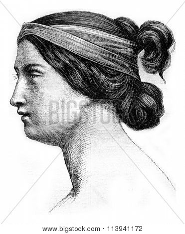 Figure study painted by Picot, vintage engraved illustration. Magasin Pittoresque 1870.
