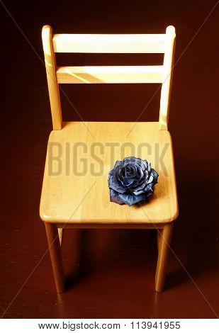 Spurious black rose on chair