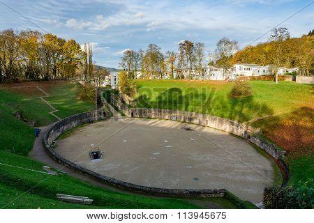 Roman Amphitheater in Trier in autumn