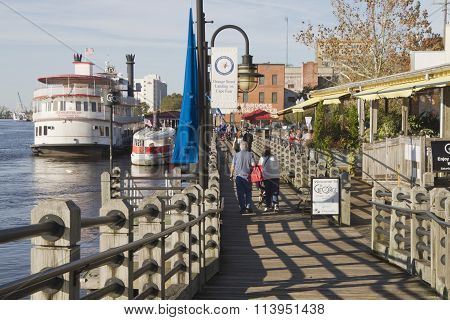 Water Street Boardwalk And Boats In Wilmington, North Carolina