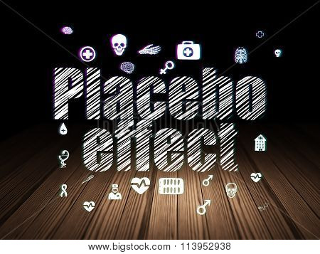 Health concept: Placebo Effect in grunge dark room