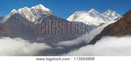 Mount Everest, Nuptse Rock Face, Lhotse And Lhotse Shar