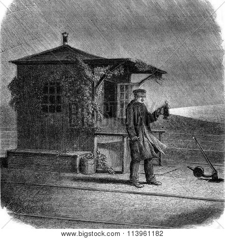 The Signalman, vintage engraved illustration. Magasin Pittoresque 1870.