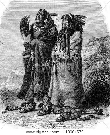 Mandan Indians, vintage engraved illustration. Magasin Pittoresque 1870.