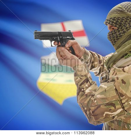 Male In With Gun In Hand And Canadian Province Flag On Background - Alberta