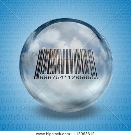 Barcode enclosed in glass sphere