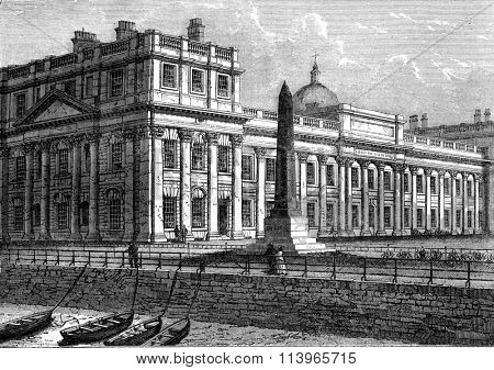 Greenwich Hospital, High pyramid in memory of Lieutenant Bellot, vintage engraved illustration. Magasin Pittoresque 1869.