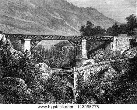 The bridge of Sia, Hautes-Pyrenees, vintage engraved illustration. Magasin Pittoresque 1869.