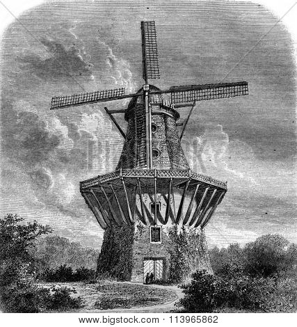 The Mill of Sans Souci, vintage engraved illustration. Magasin Pittoresque 1869.