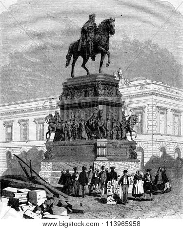 The Monument of Frederick the Great in Berlin by Rauch, vintage engraved illustration. Magasin Pittoresque 1867.