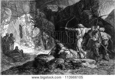 Brigands exercising archery by Adrien Guignet, vintage engraved illustration. Magasin Pittoresque 1869.