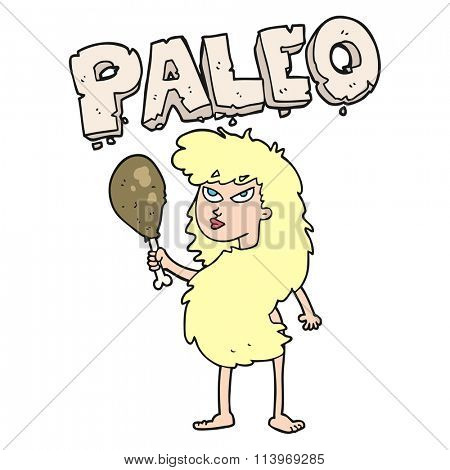 freehand drawn cartoon woman on paleo diet