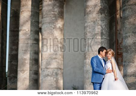 Tender Wedding Couple Background Old Architecture Of Castle