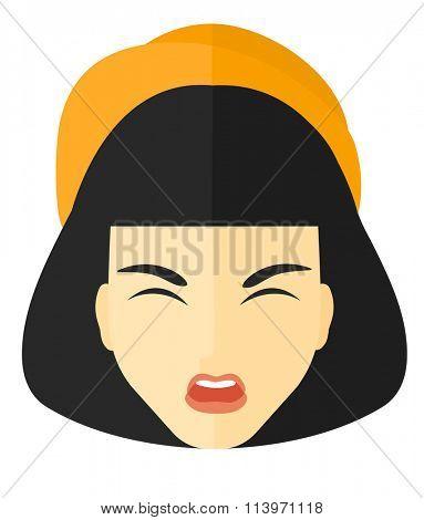 Screaming aggressive woman.