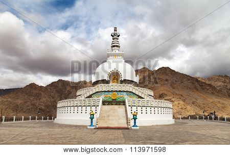 Tall Shanti Stupa Near Leh - Jammu And Kashmir - Ladakh