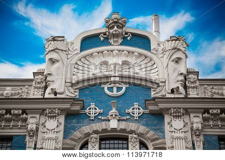 fragment of Eisenstein's Art Nouveau building in Riga Latvia poster