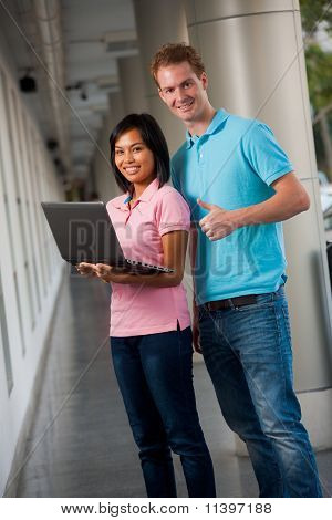 Happy Students Laptop Thumbs Up
