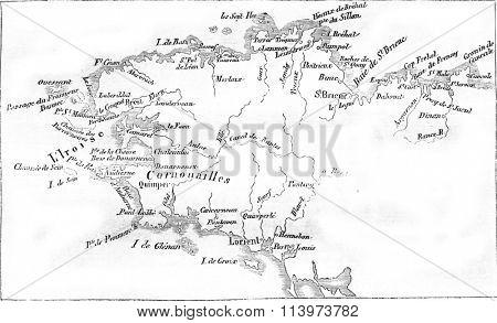 Map alongside Britain, vintage engraved illustration. Magasin Pittoresque 1857.