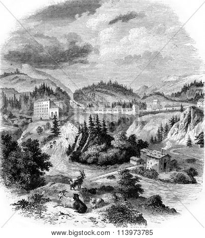 View of Wildbad Gastein, vintage engraved illustration. Magasin Pittoresque 1857.