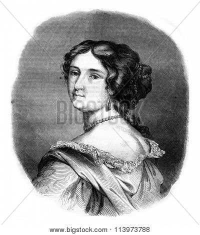 Madame de Maintenon, vintage engraved illustration. Magasin Pittoresque 1857.