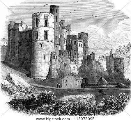 Beaufort Castle, in the Grand Duchy of Luxembourg, vintage engraved illustration. Magasin Pittoresque 1857.