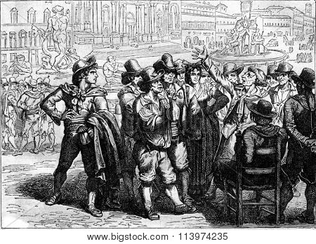 Meo Patacca listening an improviser on the Piazza Navona, vintage engraved illustration. Magasin Pittoresque 1857.