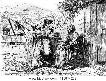 The witch Calpurnia persuaded that Nuccia Meo Patacca betrayed, vintage engraved illustration. Magasin Pittoresque 1857.