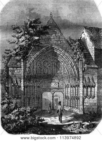 The Moutier Ahun in the Creuse department, The twelfth century portal, vintage engraved illustration. Magasin Pittoresque 1847.