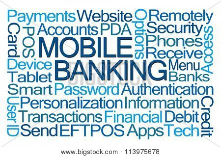 Mobile Banking Word Cloud on White Background