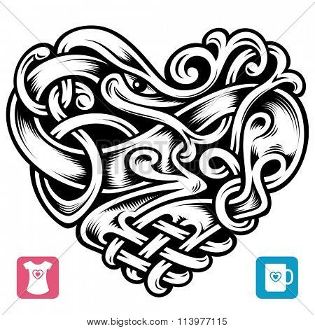 Vector celtic pattern in the shape of heart