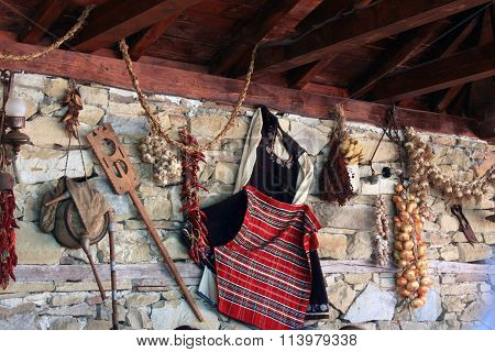 Traditional Bulgarian Belongings On Display At Small Village House Intended For Visitors