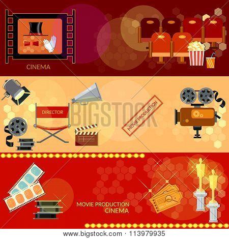 Cinema Festival Movie Design Elements Clapper Popcorn Awards Ceremony Banners