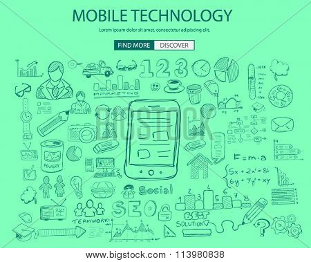 Mobile technology concept with Doodle design style :physics solution, re-engineering, parts design.Modern style illustration for web banners, brochure and flyers.