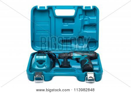 Blue Toolbox With Screw Driver Isolated On White