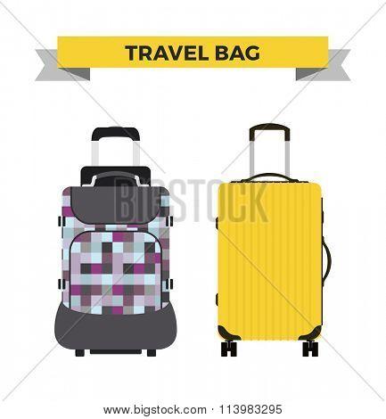 Travel bag vector illustration. Travel bag isolated on background. Travel bag symbol. Travel bag. Travel bag for traveling. Travel bag vector. Summer time, vacation, travel
