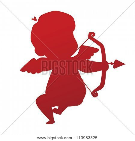 Valentine Day cupid angel silhouette cartoon style vector illustration. Amur cupid silhouette. Cupid cartoon vector illustration, Cute playfull cupid angel Valentine Day greeting card vector