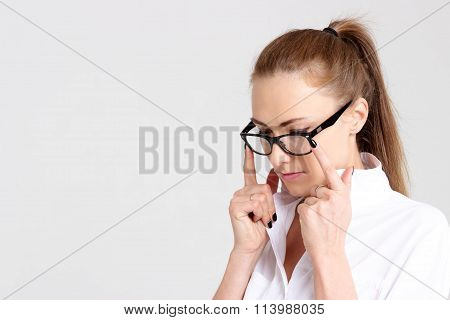Beautiful Woman Correcting Glasses Isolated