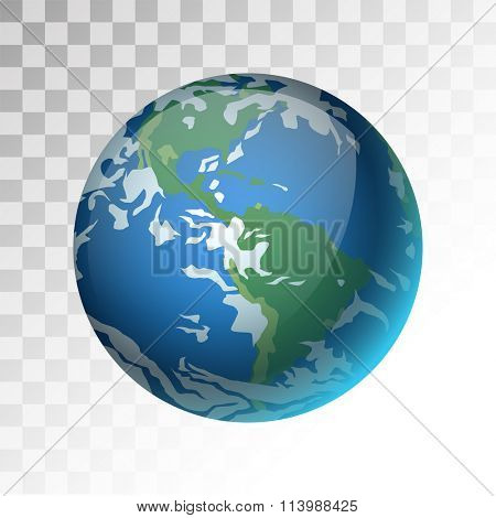 Earth planet 3d vector illustration. Globe Earth texture map. Globe vector Earth view from space. Globe Earth illustration. Geography world vector Earth. Globe silhouette, world map, 3d earth