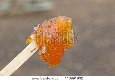 Maple Taffy On A Stick