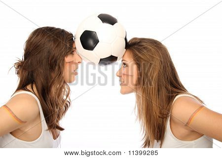 two girls with a football