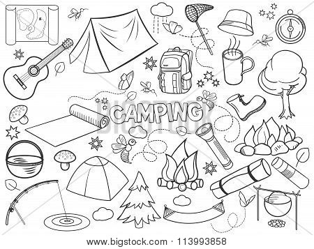Camping design colorless set vector