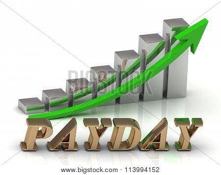PAYDAY- inscription of gold letters and Graphic growth and gold arrows on white background