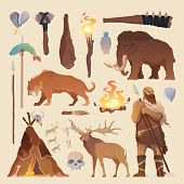 Great vector set of elements for your projects. Primitive man. Ice age. Cavemen. Stone age. Neanderthals. Homo sapiens. Extinct species. Evolution. Hunting Flat design. poster