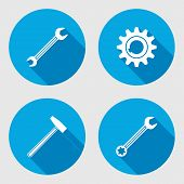 Screwdriver, hammer, wrench key icon, bolt nut, glue, oil-can. Repair fix tool symbol. Round circle flat icon with long shadow. Vector poster