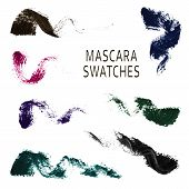 Set of 7 realistic mascara swatches. Brush strokes of different shades of real mascara. Colorful swirls isolated on white background. poster