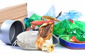 Mixed trash closeup isolated on white background poster