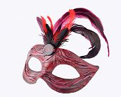 Venetian red Carnival half mask with feathers, isolated on white background.  Handmade papier mache, acrylic paints, cloth and feathers poster
